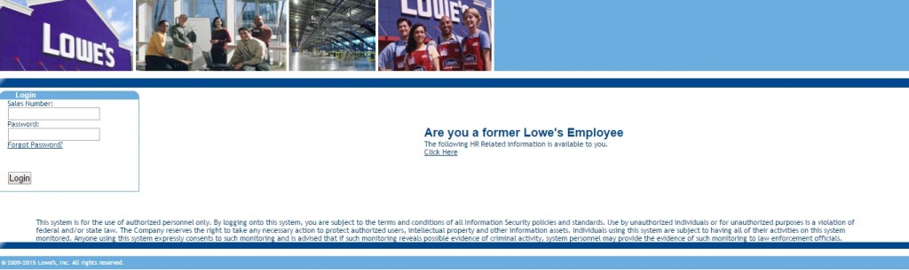 A screenshot of the Lowes employee login page.