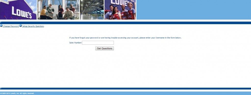 Lowes Employee login recover password page