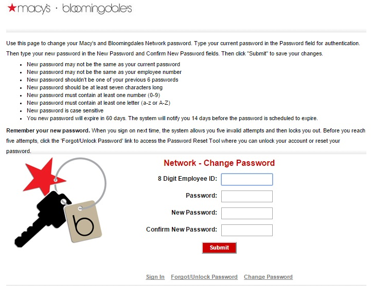 You have the option to change your password at Macys Insite.
