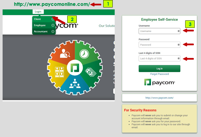Paycom employee login menu