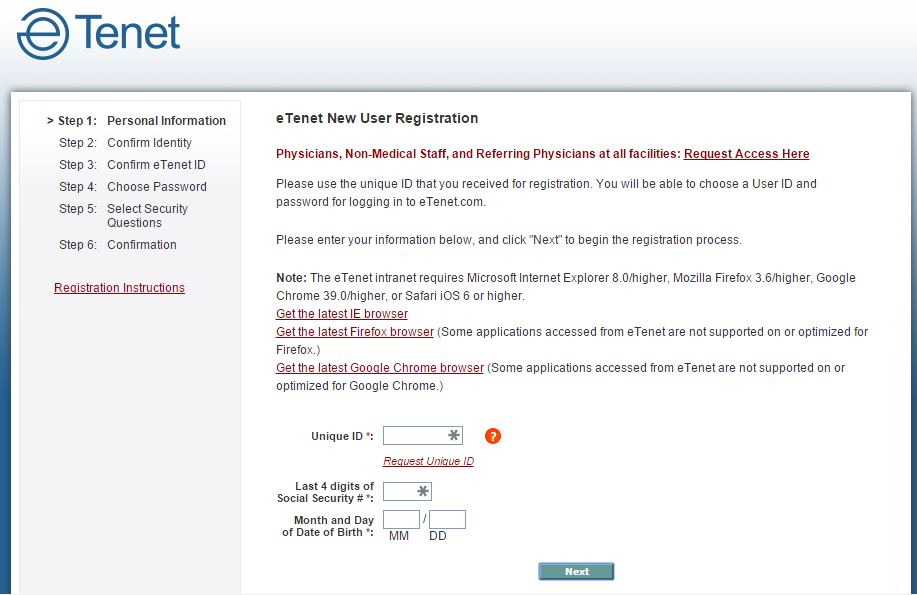 Screenshot of the Etenet registration process for non-physicians.