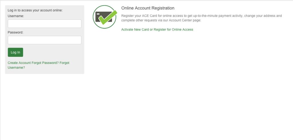 Ace Elite Visa Account login web page