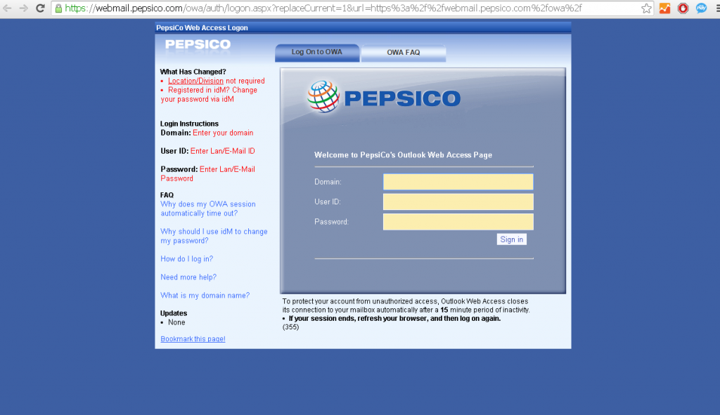 PepsiCo webmail login page