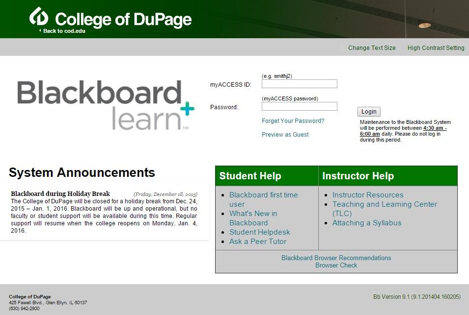COD Blackboard Login Page