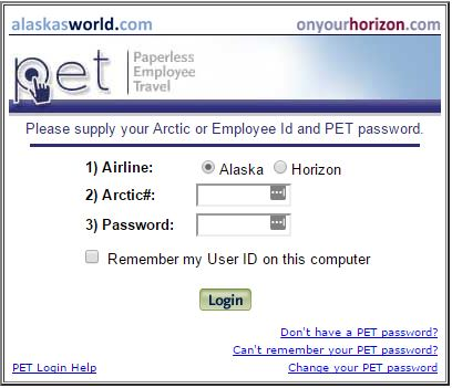 A screenshot of the alaskasworld website login form.