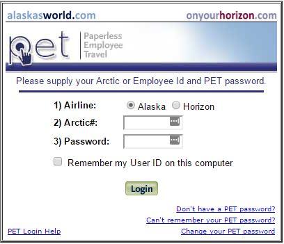 A screenshot of the alaskasworld website login form.