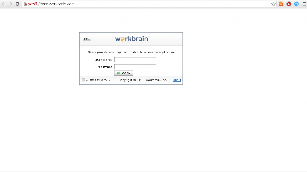login to amc workbrain page screenshot