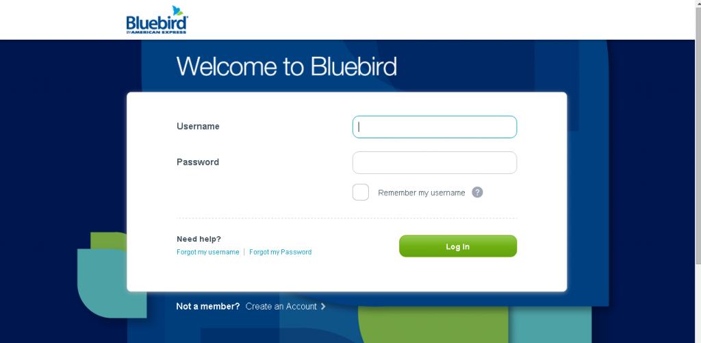 Bluebird American Express Login Page
