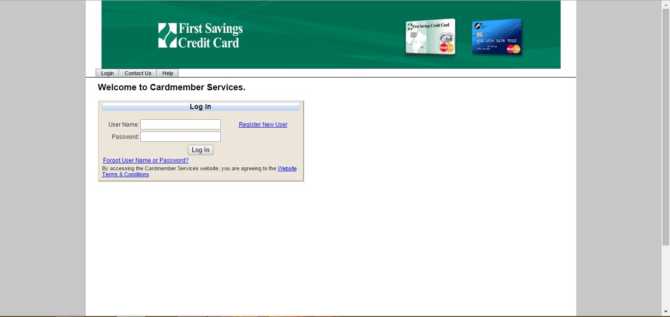First Savings Mastercard Login page screenshot