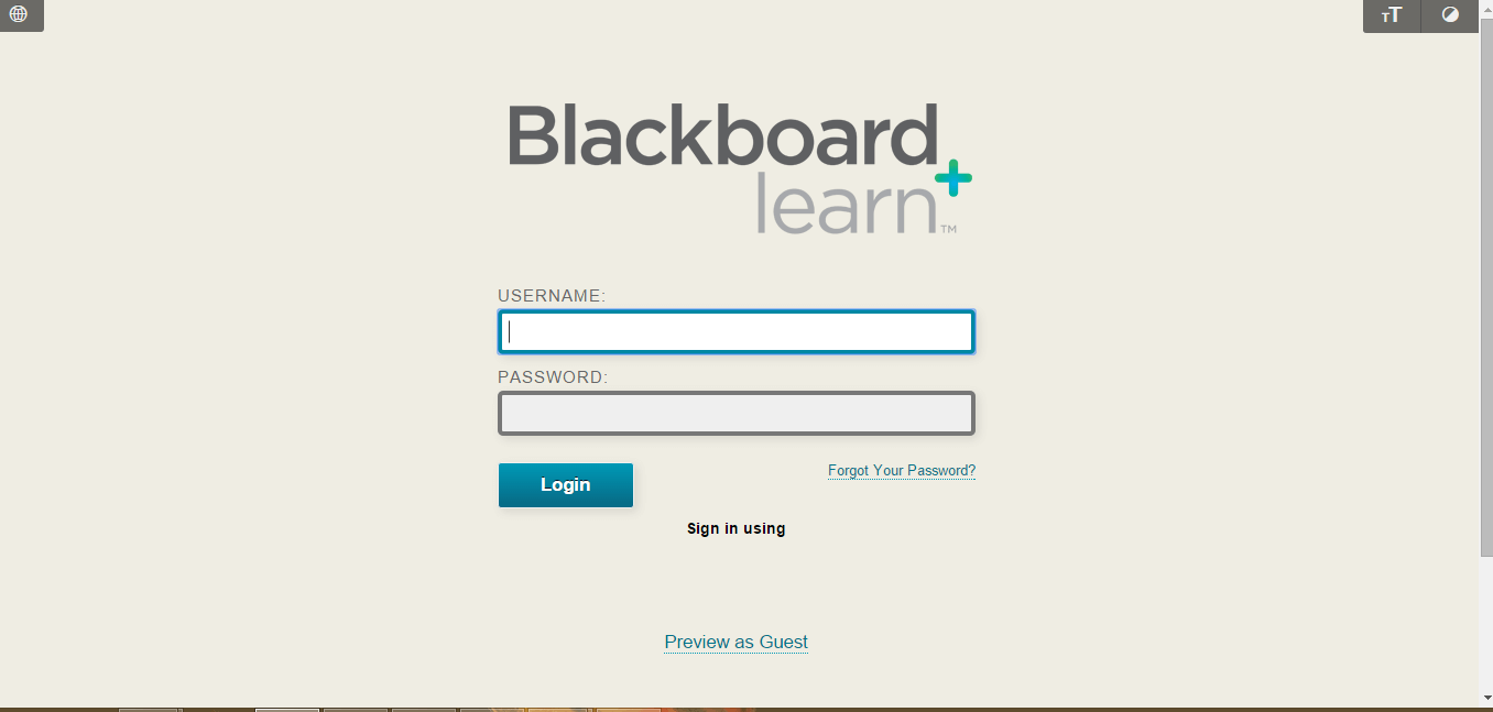 Post University Blackboard Login Page for Staff screenshot