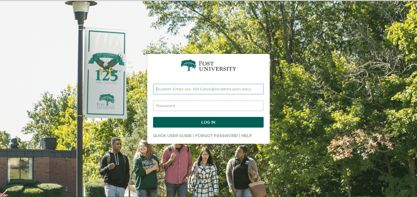 Post University Blackboard Login Page for Students screenshot