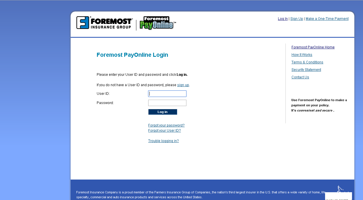 ForemostPayOnline login page