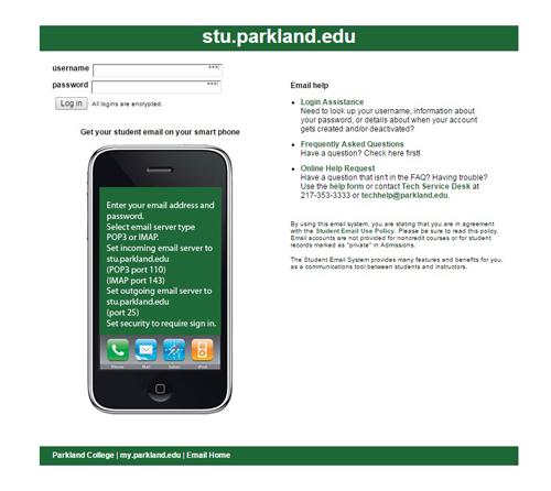 Parkland Webmail login page