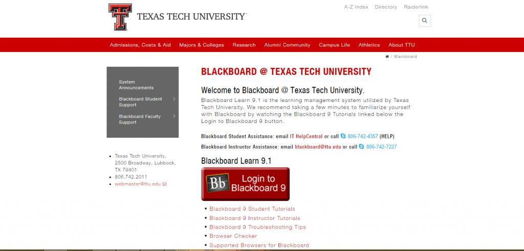 Blackboard TTU Login Guide Page