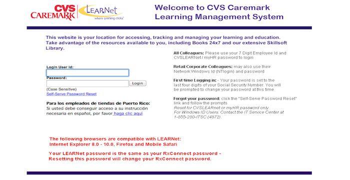 Cvs learnet login guide at www cvslearnet cvs com login oz