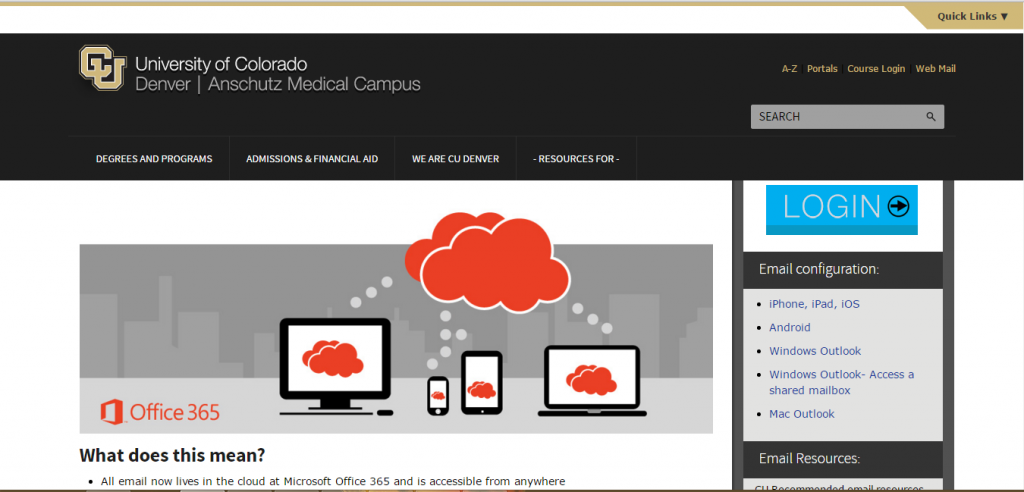 UCD Webmail Login Guide First Page