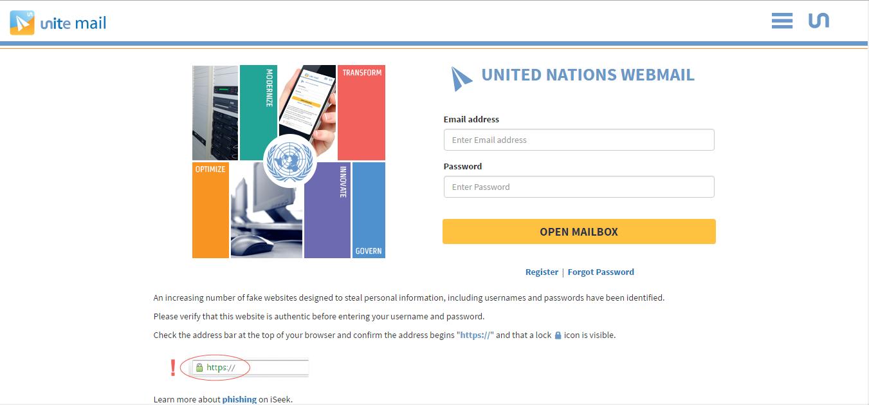 UN Webmail Login Guide Login Page