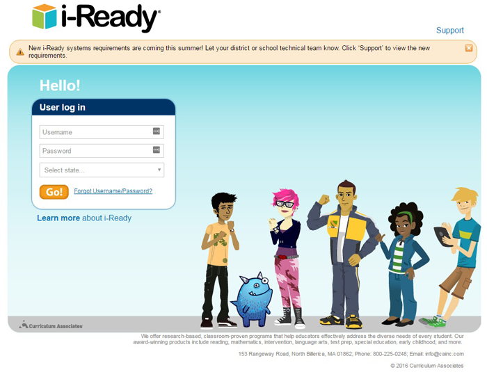 iReady Login Page