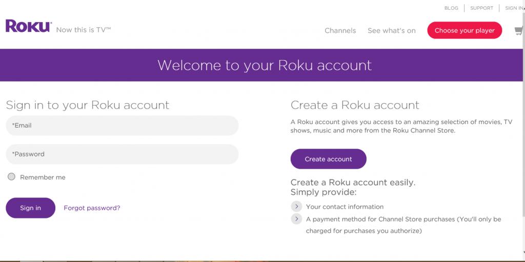 Roku Account Login Page