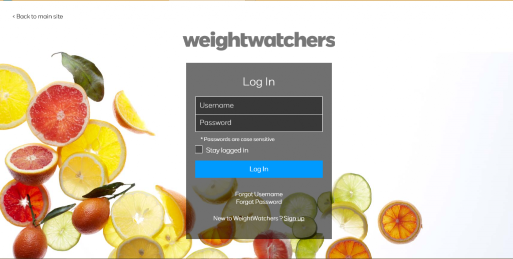 Weight Watchers Online Login Page