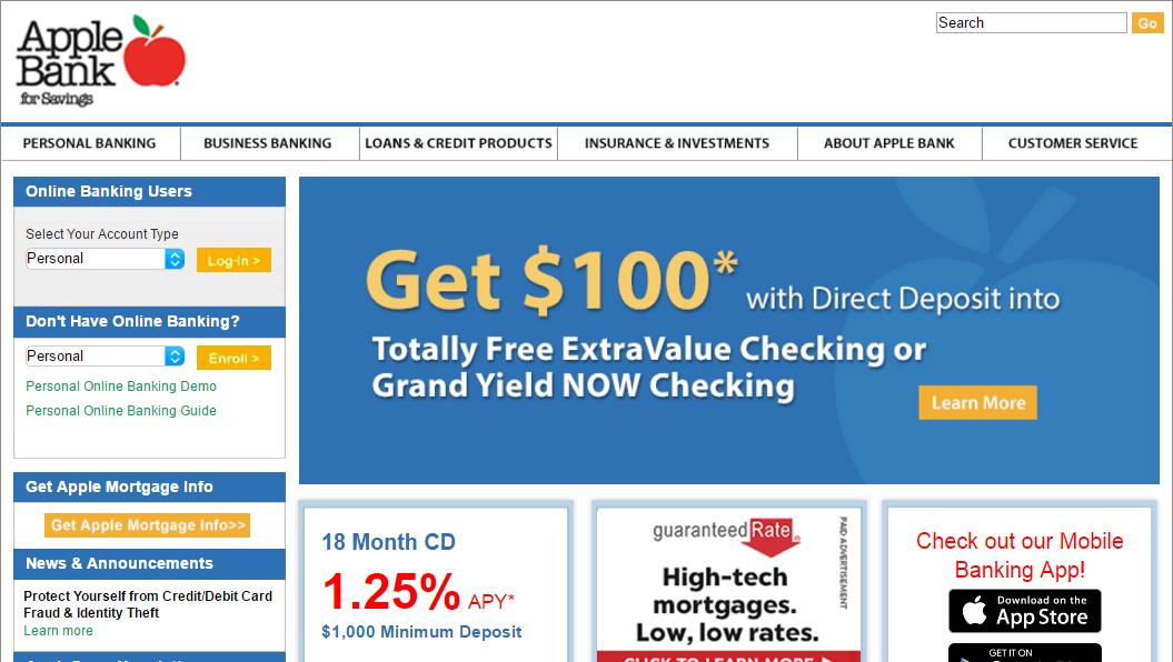 apple bank home page