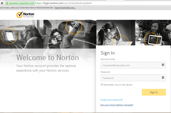 Norton login account