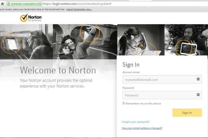 Norton login account