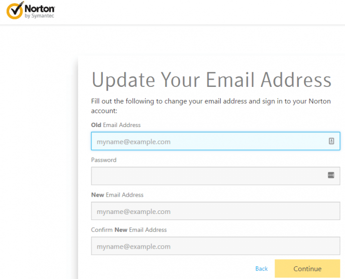 Norton account login e-mail update