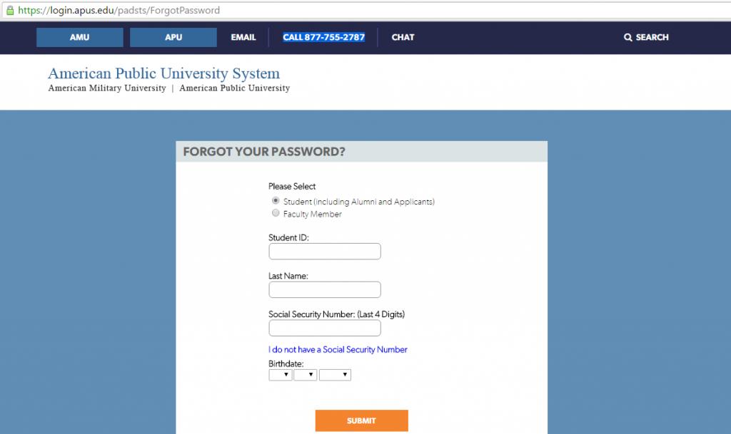 amo student login password