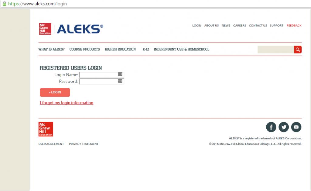 Aleks login for users