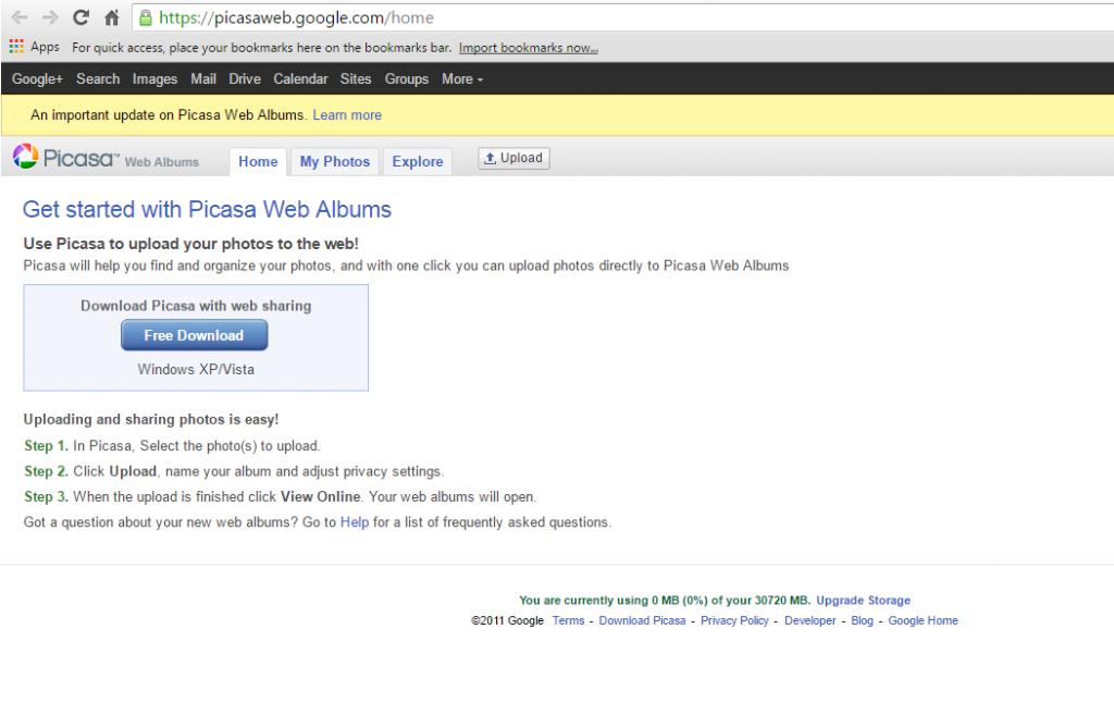 Picasa login page