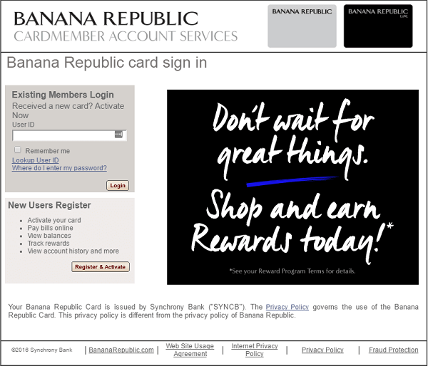 Banana Republic Credit Card Login page.