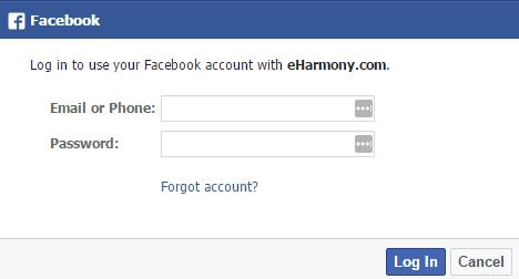eHarmony login through Facebook.