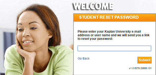 Kaplan University Login forgot password page.