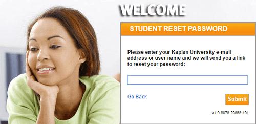 Kaplan University Login forgot password page.