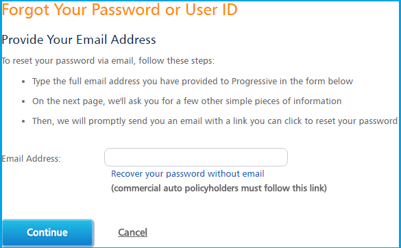 Progressive Auto Insurance Login forgot pass page screenshot.