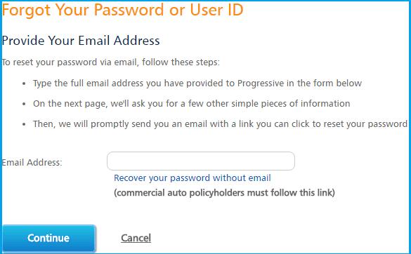 Progressive Auto Insurance Login forgot pass page screenshot.
