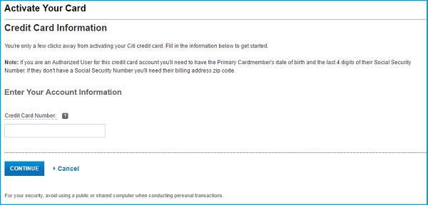 Citibank credit card login card activation.