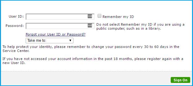 Citibank credit card login page.