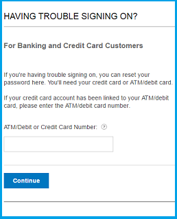 Citibank credit card login user id and password recovery page.