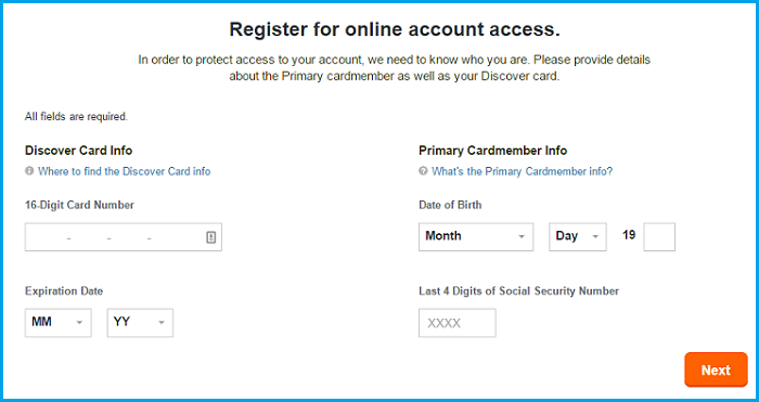Discover Credit Card login account registration page.