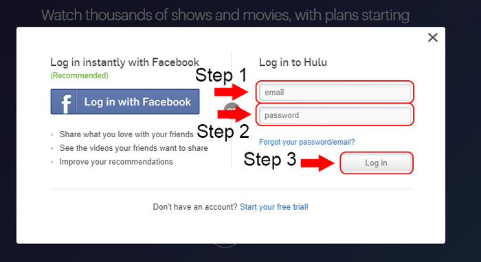 hulu account login