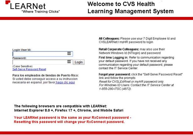 A screenshot of the CVS Learnet login page.