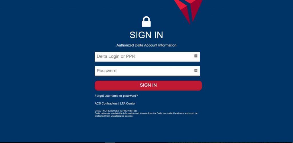 delta extranet login landing page