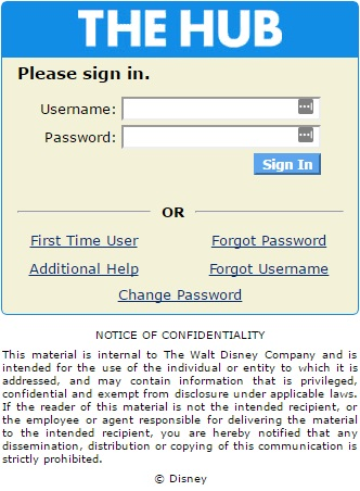 Disney hub login form
