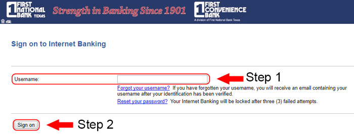 first national bank online banking login