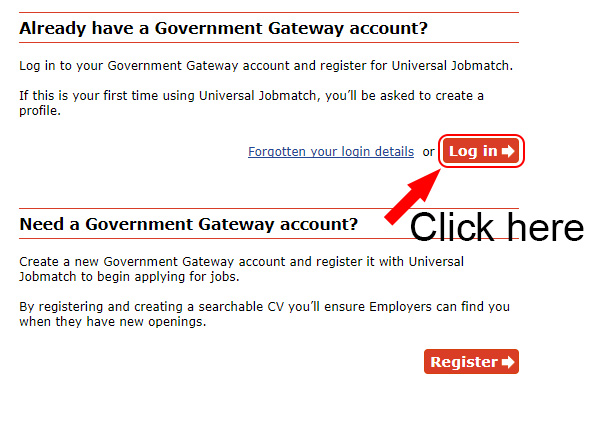universal jobmatch login button