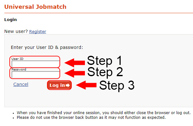 universal jobmatch login