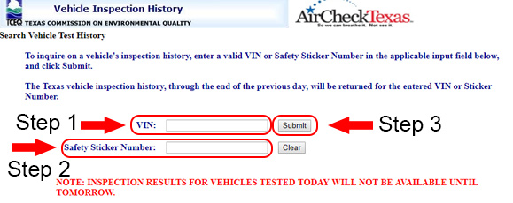 texas vehicle inspection history form