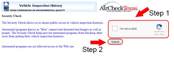 texas vehicle inspection history security